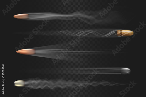 Fotografie, Obraz Realistic flying bullet with smoke trace isolated on transparent background, a s