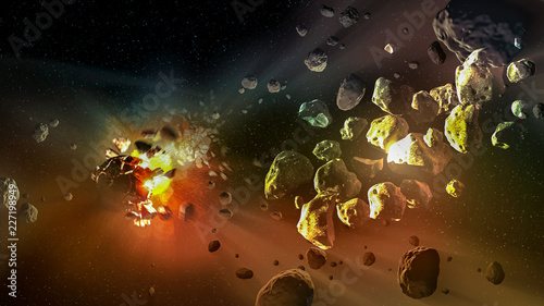 Meteorites in a deep space, science fiction fantasy, Elements of this image furnished by NASA.