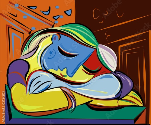 Colorful abstract background, cubism art style,woman sleep at the table