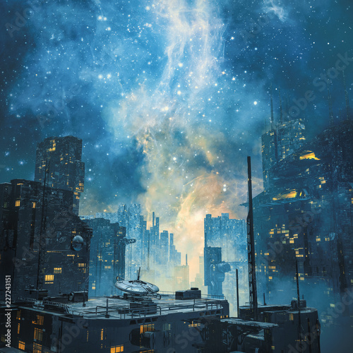 Fotografia Galactic space colony by night / 3D illustration of dark futuristic science fict