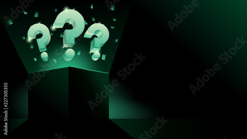Obraz na płótnie glowing mystery gift box with question dark modern style banner or business pres