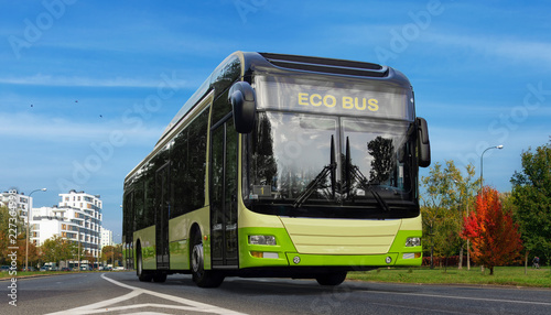 Hybrid electric bus. Urban ecology green concept.