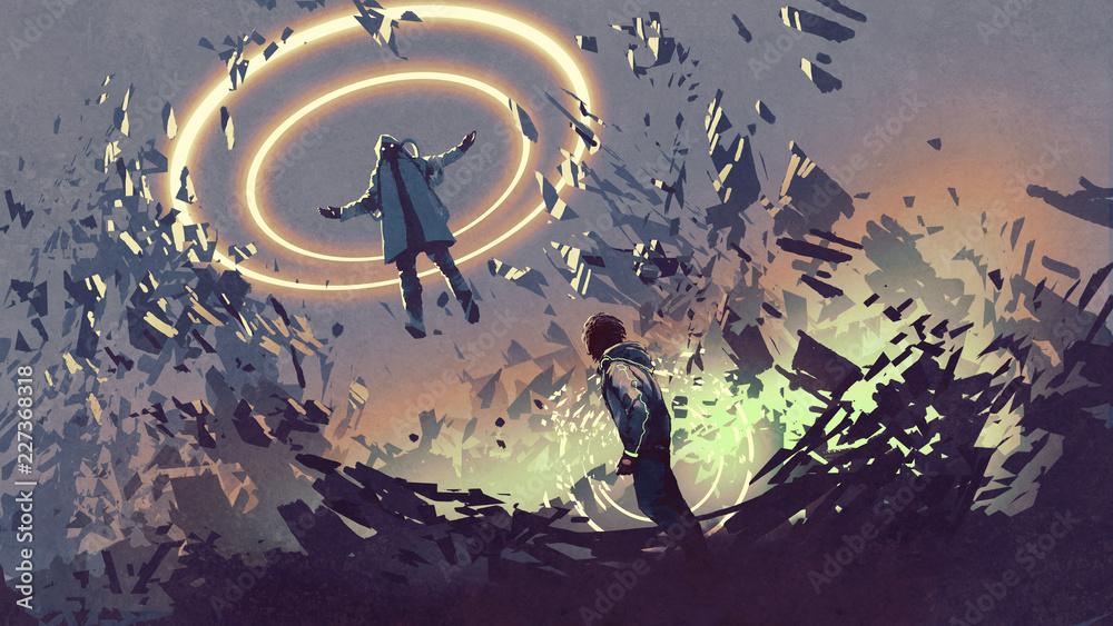 scena science-fiction pokazująca walkę dwóch futurystycznych mężczyzn z magią, cyfrowy styl, ilustracja malarstwo <span>plik: #227368318 | autor: grandfailure</span>