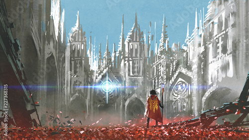 Canvas the knight looking at mysterious light in gothic buildings, digital art style, i