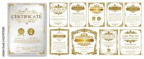 Canvas Print Set of Decorative vintage frames and borders set,Gold photo frame with corner Thailand line floral for picture, Vector design decoration pattern style