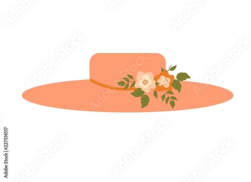 Cuadros en Lienzo Elegant pink ladies flower women hat