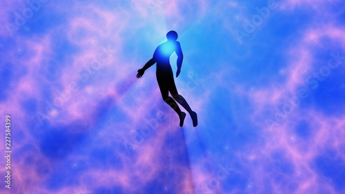 Leinwand Poster Man floating, rising into space , heavens