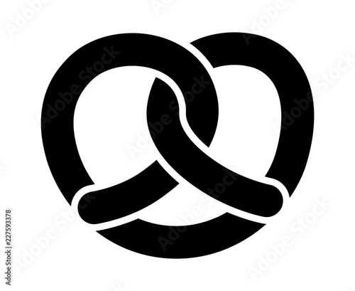 Fotografie, Obraz Soft pretzel twisted knot bread flat vector icon for apps and websites