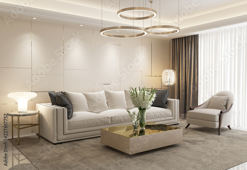 White eclectic luxury living room