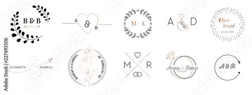Fotografia, Obraz Wedding monogram logos collection, hand drawn modern minimalistic and floral tem