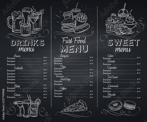 Stampa su Tela Template chalkboard menu cafe