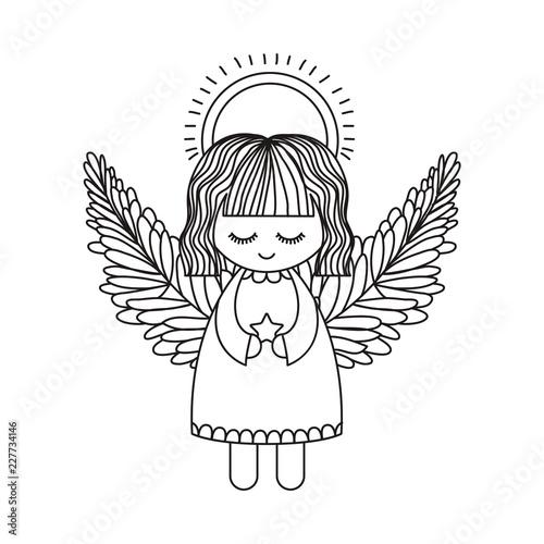 Carta da parati Angel cartoon of christmas season design
