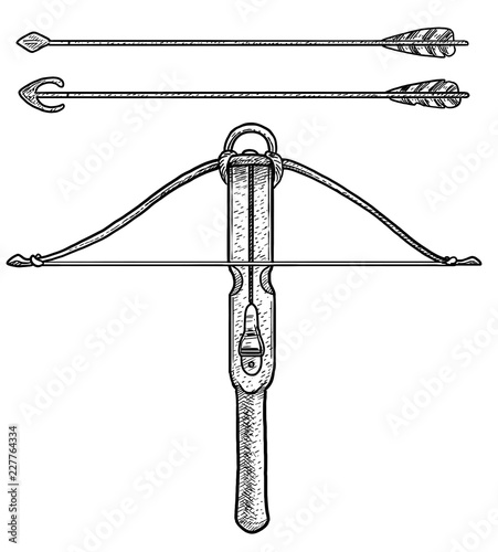 Canvas Wooden crossbow illustration, drawing, engraving, ink, line art, vector