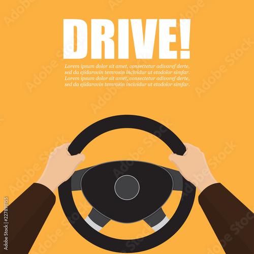 Fotografie, Tablou Hands hold the steering wheel of the car. Vector illustration