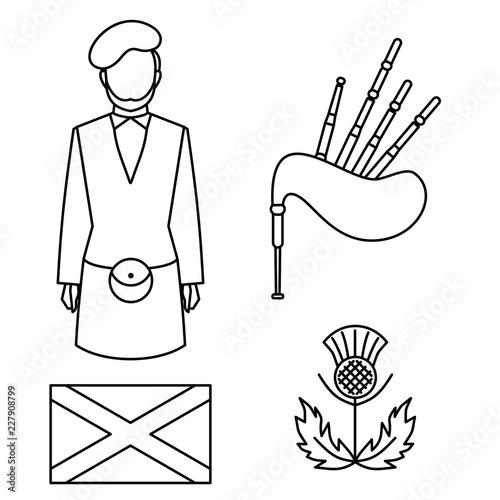 Fotomural Line symbol of Scotland, United Kingdom