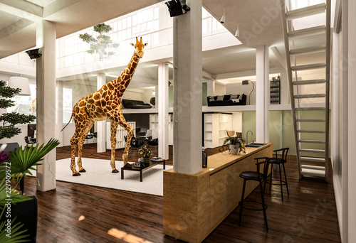Fototapeta premium Żyrafa mieszka na strychu