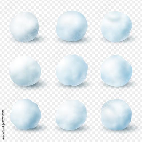 Photo Snowballs realistic winter frost set, christmas decoration
