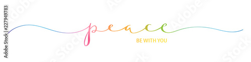 Cuadros en Lienzo PEACE BE WITH YOU brush calligraphy banner