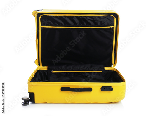 Open suitcase for travelling on white background