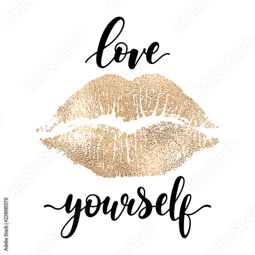 Canvastavla Love yourself - black hand written lettering with golden lip imprint isolated on white backgroun