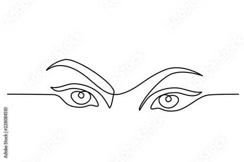 Continuous one line drawing. Abstract portrait closeup of pretty woman eyes. Vector illustration