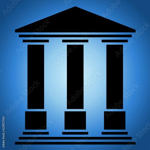 Canvas Temple 3 colonnes. Fond nuit