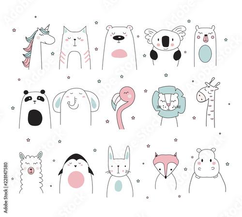 Photo doodle animals set, vector illustration