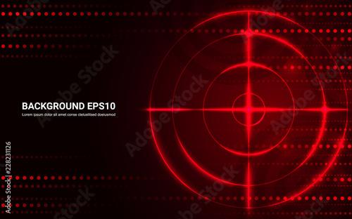 Fototapeta Abstract red target, shooting range on black background