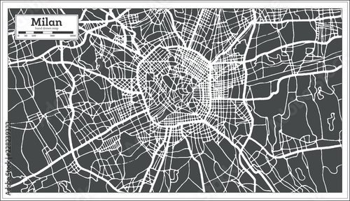 Canvas Print Milan Italy City Map in Retro Style. Outline Map.
