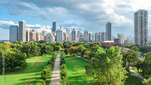 Fotografia Chicago skyline aerial drone view from above, lake Michigan and city of Chicago