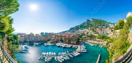 Платно View of Fontvieille, district of Monaco, French Riviera coast, Cote d'Azur, France