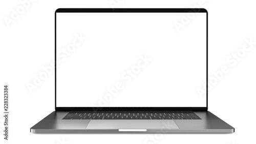 Laptop a rectangular screen for inserting images, isolated on white background, dark aluminium body. Whole in focus. High detailed. Template, mockup.