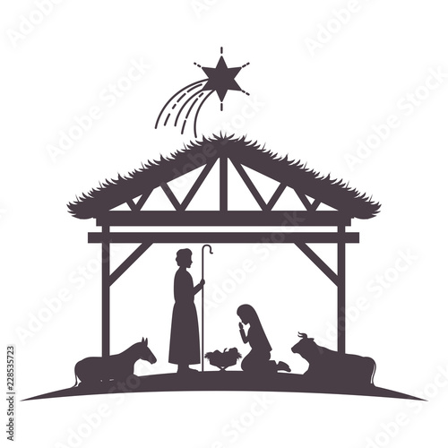 Fototapeta holy family in stable with animals silhouettes
