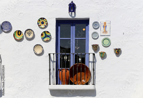 Canvas Print Village balconies in Frigiliana-- is one of beautiful white towns in the provinc