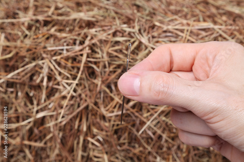 A hand holding a needle in front of a haystack Fototapet