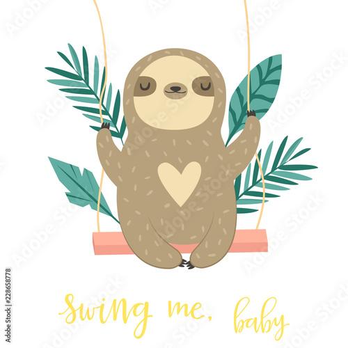 Canvas Print Cute swinging sloth. Happy animal design.