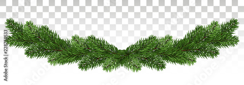 Stampa su Tela Christmas background with garland, New Year decoration with fir branches, beads and holly berry