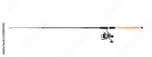 Fotografía Modern fishing rod with reel on white background