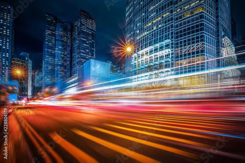 Fotografie, Tablou Motion speed lighting in the city