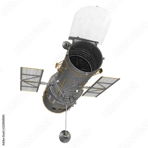 Fotografiet Hubble Space Telescope Isolated On White Backgrouns