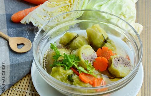 Stuffed Cabbage rolls Clear  Soup with carrot  (Thai name is Kaeng Chuet Kalampri) Cabbage Thai menu for kids.