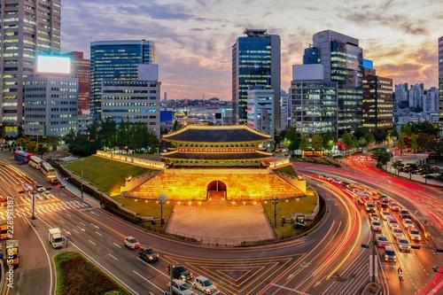 Canvas Print View of downtown at namdaemun gate in Seoul south Korea