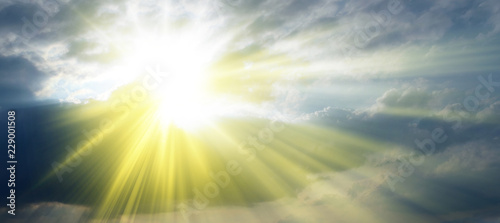 Canvas Print Rays of sunshine in the clouds, Holy Spirit