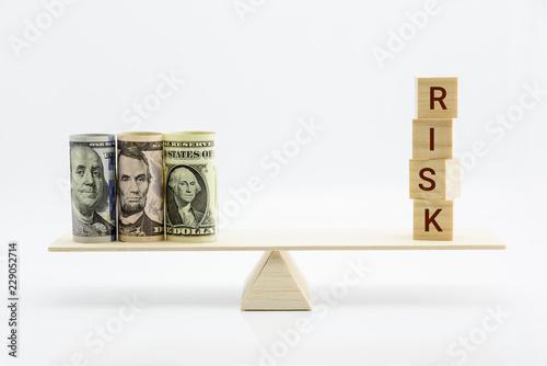 Obraz na płótnie Financial, economic risk and risk perception, decision making concept : Dollar b