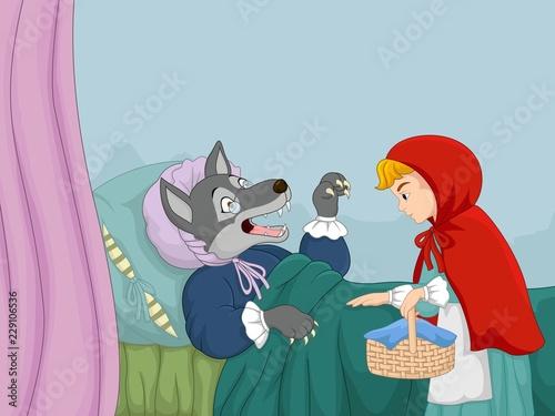 Fototapeta premium Kreskówka mały czerwony kapturek i wilk