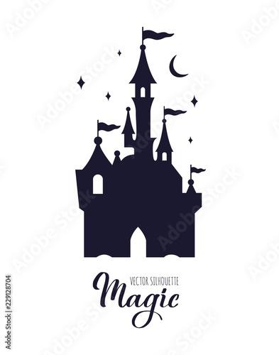 Vászonkép Fairy tale medieval Castle silhouette witn night starry sky