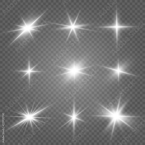 Wallpaper Mural Glow isolated white light effect set, lens flare, explosion, glitter, line, sun flash and stars