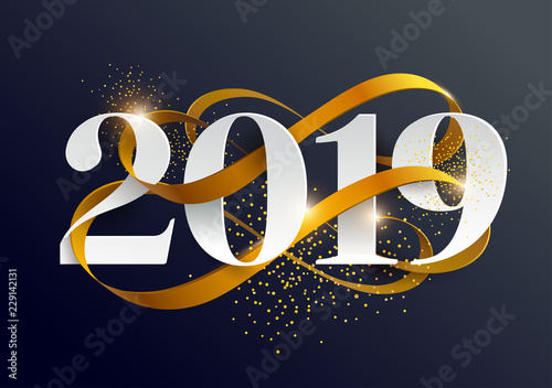 Obraz na płótnie New Years 2019. Greeting card with date and ribbon