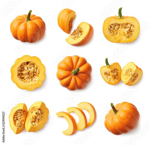 Obraz na płótnie Set of fresh whole and sliced pumpkin