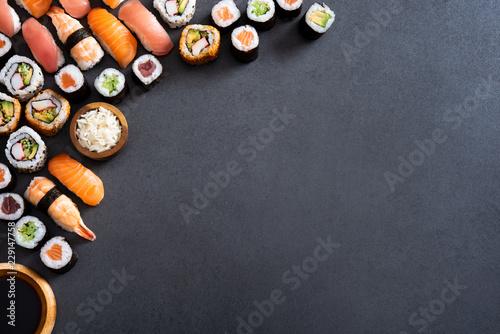 Sushi food and maki rolls corner